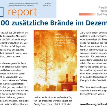 Weihnachtsbaumbrände – sind vermeidbar! (IFS report Dezember 2019)