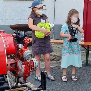Der Feuerwehrnachwuchs – voll bei der Sache